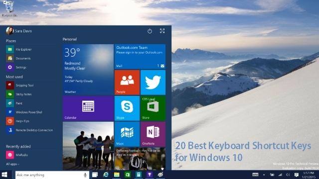 20 best Keyboard Shortcut Keys for Windows 10