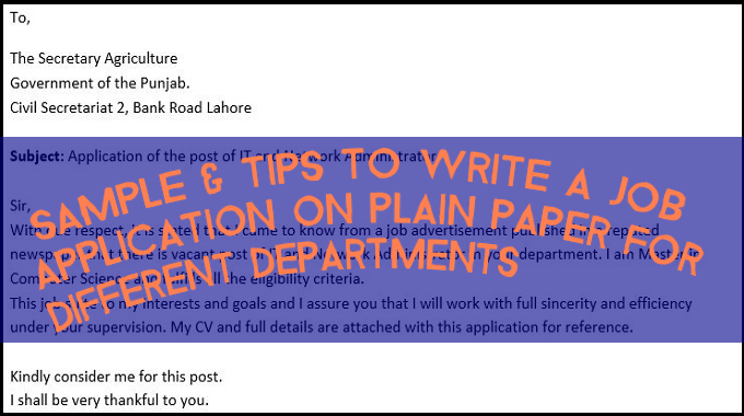 Sample & Tips to Write a Job Application on Plain Paper for Different Departments