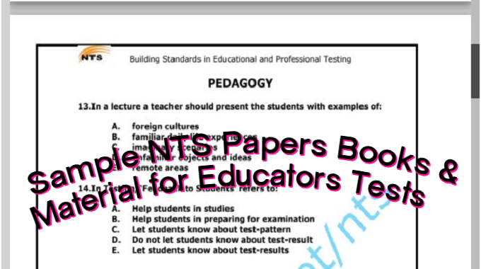 Sample NTS Papers Books and Material for Educators Tests