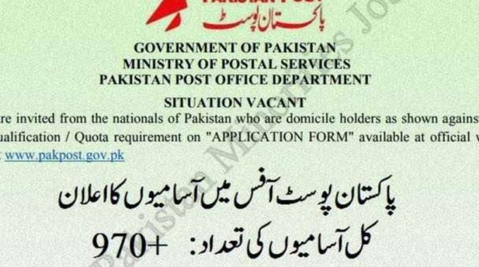 970+ Jobs in Post Office for Middle Matric and Graduates Announced