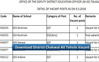 District Chakwal All Tehsils Vacant Posts Male and Female