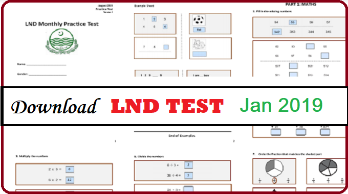 Download PDF 2 Pages LND Practice Test January 2019 Punjab School Department