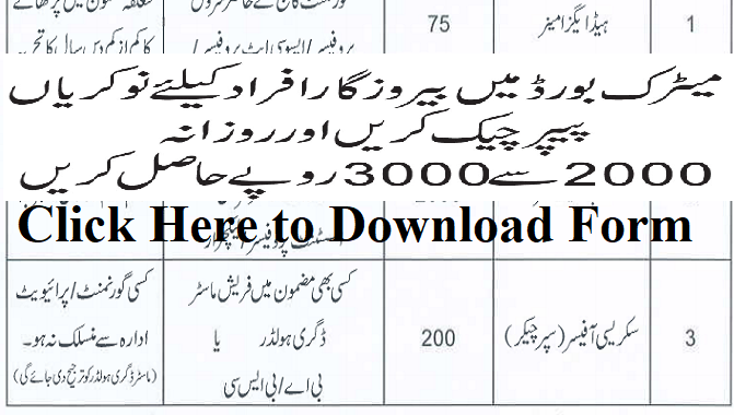 2275 Paper Marking Jobs in Gujranwala Board 2020 for Bachelor  Masters Degree Holders