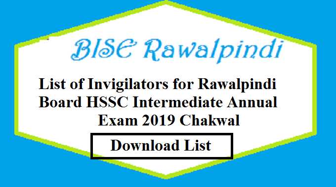 List of Invigilators for Rawalpindi Board HSSC Intermediate Annual Exam 2019 Chakwal