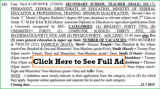 400 Federal Directorate of Education Teaching SST Jobs July 2019 through FPSC