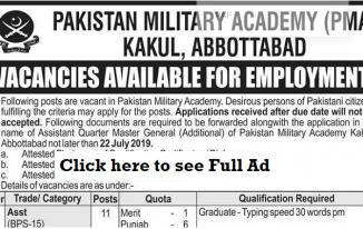 200 Pakistan Military Academy PMA Kakul Jobs July 2019 for Primary to Graduation