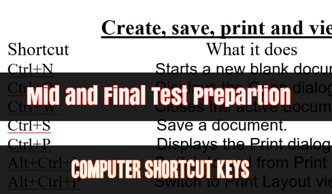 Computer Shortcut Keys for Mid and Final Test of Induction Level Training