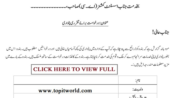 Application Form for Patwari Jobs in Punjab 2021