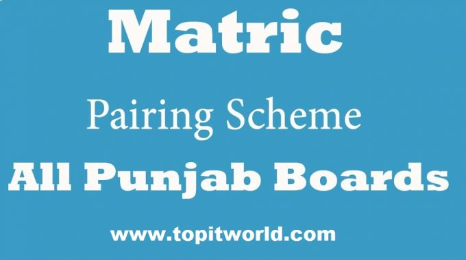 Matriculation Subjects Pairing Scheme 2021